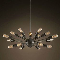 Black Dandelion 18 Lights Dining Room Pendant chandelier Lighting - Add warmth to your home by hanging this Black Dandelion 18 Lights Dining Room Pendant Lighting in your living room,your kitchen bar,your family or your children's bedroom.Once you hang this lamp, you'll start critiquing every other lighting fixture in the house. The light's unique design will change the way you think about illuminating a room.More Table Lamp,Pendant Lighting and Floor Lamp Are waiting for you in www.parrotuncle.com!Welcome to buy now!