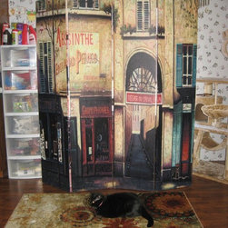 Room Dividers, Folding Screens, Partitions, Decorative Screens, Room Separators - This is a 6ft tall four panel vintage art print room divider screen of an outdoor Parisian cafe.  This customer uses the screen to block off a window
