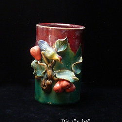 Chinese Ceramic Flower Bird Motif Container - Not for food / beverage serving