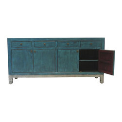 Madera Home - Cleo Turquoise and Silver Tall Sideboard - Our collection of sideboards and buffets are built of beautiful elm wood reclaimed from buildings and furniture pieces. Each piece is meticulously hand built and finished by time-honored craftsman utilizing over 120 different processes. A gorgeous addition to your dining room, stunning under your flat panel television, or the focal point of the master suite.