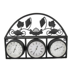 Outdoor Wall Mounted Clock/Thermometer/Hygrometer - This awesome outdoor decor piece features a hygrometer, clock, and thermometer, all in one. Made of metal, it measures 20 1/2 inches long, 15 inches tall, 2 inches deep and mounts to the wall with 2 nails or screws (included). The white faces of the clock and instruments measure approximately 5 inches in diameter, and are marked with contrasting black numbers and hands that are easy to read. The clock features quartz movement, and runs on 1 AA battery (not included). The rounded top section features bunches of grapes on a vine, and adds a decorative flair to the piece. It makes a great housewarming gift, and is sure to be admired.