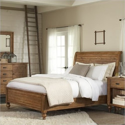 Riverside Summerhill Sleigh Bed - Imagine yourself riding through the woods in a horse-drawn Summerhill Sleigh Bed. Okay, so you don't need a horse to enjoy the rustic charm of this pine solid and pine veneer-constructed beauty. A distressed Canby rustic pine finish is the perfect accent to this traditional-style bed, and it's sure to give your bedroom the kind of appeal you desire. Included wood support slats and legs with built-in levelers provide stability so this bed will stay gorgeous for years to come.Notes on Riverside ConstructionAll Riverside domestic furniture is constructed of fine oak, ash, poplar, and pine wood. These wood types are durable and feature beautiful, open grains that make them much preferred among furniture manufacturers. Each piece of wood is first graded for quality, then kiln-dried to remove excess moisture and prevent splitting. The wood is then constructed into a high-quality furniture piece using a combination of hardwood solids and hand-selected veneers. Techniques used on Riverside pieces include dovetail joinery, heavy-duty drawer roller guides, and multi-step finish applications that include hand-sanding and polishing for a deep, lustrous result. All Riverside furniture is given this high-quality treatment to ensure the beauty and durability of your final product.About Riverside FurnitureRiverside has been growing for more than half a century. The company's founder, Herman Udouj, opened the doors to his first factory in 1946, and along with 12 employees, he began making handcrafted furniture for the post-World War II Baby Boom era. Since then, generations of customers have furnished their homes and offices with Riverside's wide range of furniture products. Riverside strives to be trusted for quality products that are an affordable value. It's just that simple.
