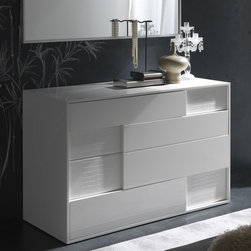 Rossetto - Nightfly White Dresser - It's the angled recessed appearance that draws you in and then, then functionality of the dresser is what keeps you. The Rossetto Nightfly White Dresser is a lovely take on a bedroom classic. With faux alligator finish ecoleather that's strategically placed, this dresser speaks to those passionate about our environment. The high glass white lacquer finish adds the contemporary touch while the clean lines and perpendicular design that lays flush to the floor complete the gracious design. Perfect for any home decor layout.