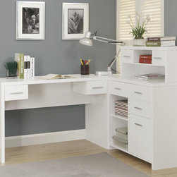 Monarch - White Hollow-Core L Shaped Home Office Desk - The contemporary appeal of this warm white finish L-shape home office desk upgrades your home office with functional storage and workspace along with style. The spacious hollow-core desk and return gives you two work surfaces with room for a computer or laptop as well as a writing and reading space that you can use to spread out documents. The piece features an abundance of drawer storage, a hutch and open shelves that let you keep all of your essential supplies within easy reach.