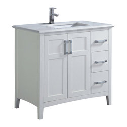 "Simpli Home - Winston White 36"" Bath Vanity with White Quartz Marble Top - The Simpli Home 36 inch Winston Vanity is a classic style vanity finished in a white lacquer finish, and multi finish chrome pulls. This beautiful assembled vanity provides large storage area with an internal shelf behind its 2 doors and 3 drawers."