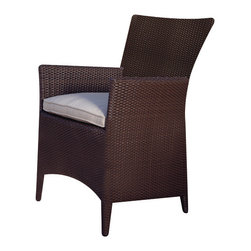 Vieques Dining Chair - By Kingsley Bate - We make our VIEQUES armchair with all-weather wicker and a powder-coated aluminum frame for maximum durability. Extremely comfortable and natural looking, VIEQUES is stocked in our Java Brown wicker. Chairs may also be special ordered in Ebony wicker at no extra charge, or in Natural Brown, Sea Salt, Textured Charcoal, Black or White for a small charge.