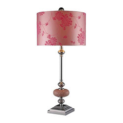 Dimond Lighting - Dimond Lighting D1711 Lauren Chrome Table Lamp - Lauren Table Lamp in Chrome and Pink Mosaic with Flocked Pink Whisper Fabric and Pink Liner