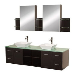 "Wyndham Collection(R) - Avara 72"" Wall-Mounted Double Bathroom Vanity Set by Wyndham Collection - Espres - Make a statement with the Avara double vanity, and add a twist of the transitional to an otherwise modern classic. Available in multiple sizes to suit any bathroom decor.Features Constructed of beautiful veneers over the highest grade MDF 8-stage painting and finishing process Modern wall mounted installation Deep doweled drawers Fully extending side-mount drawer slides Soft-close doors Concealed door hinges Open, easy-access storage spaces Plenty of cabinet storage space Includes choice of marble, glass or cultured stone counter Includes choice of porcelain or optional granite vessel sinks Single-hole faucet mount Faucets not included Includes matching medicine cabinet mirrors and side shelves Metal hardware with brushed chrome finish 2 doors, 4 drawers, 4 open storage compartments How to handle your counter Spec Sheet for vanity Installation Guide for Countertops with Vessel Sinks Stone Vessel Sink Installation Guide Spec Sheet for Rotating Wall Cabinet with mirror (B802) Spec Sheet for Wall Cabinet (B803)Spec Sheet for Wall Cabinet (B805)Spec Sheet for Maria Bathroom Wall Cabinet (WC-B807) Please note that all custom natural stone and Caesarstone counters are proudly manufactured in the USA specifically for your order, and so require at least 4 weeks manufacturing time. Caesarstone Carbone, Starry Night, Spring Blossom, and Marrone are made from recycled content. Quartz Reflections and Ruby Reflections colors are made with up to 35% post-consumer recycled glass. Chocolate Truffle color is made with up to 17% post-consumer recycled glass. Vessel Sink Dimensions   Width Depth Height Thickness Porcelain Sink 16.25"" 16.25"" 5"" 5/8"" Black Granite Sink 18"" 16"" 4"" at center, 5"" at corners 1 1/2"" Ivory Marble Sink 18"" 16"" Height: 3 7/8"" at center, 4 3/4"" at corners 1"" White Carrera Sink 18"" 16"" Height: 4"" at center, 5"" at corners 1"" Natural stone like marble and granite, while otherwise durable, are vulnerable to staining from hair dye, ink, tea, coffee, oily materials such as hand cream or milk, and can be etched by acidic substances such as alcohol and soft drinks. Please protect your countertop and/or sink by avoiding contact with these substances. For more information, please review our ""Marble & Granite Care"" guide."