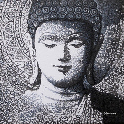 """Modern Buddha Paintings by Panna - Buddha V (Original) by Panna - Our """"Spiritual"""" series is inspired from the widely revered deity, Ganesha, along with Buddha and the mystic & spiritual OM symbol. These intricate and soothing paintings aim to foster love, strength, hope, peace and happiness."""
