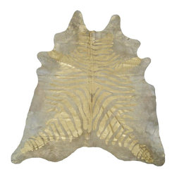 Gold Rustic Zebra Devore Cowhide Rug - This has the perfect mix of animal and gold.