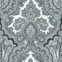 Kenneth James - Isla White Paisley Wallpaper - Paisley can be overwhelming, but in black and white it won't outdo the rest of your decor. Add it to an accent wall or paper the entire room.