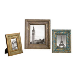 Uttermost - Suvarna Gold Photo Frames Set of 3 - Gold leaf photo frames with blue, gray and light green glazes.