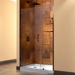 """DreamLine - DreamLine SHDR-20437210S-06 Unidoor Shower Door - DreamLine Unidoor 43 to 44"""" Frameless Hinged Shower Door, Clear 3/8"""" Glass Door, Oil Rubbed Bronze Finish"""