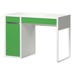 Micke Desk, White/Green - A big boy room means it's time for a big boy desk. I like that this one offers a pop of color. It provides just enough storage space, but the main reason for needing a desk is for my son to have a dedicated space to do his homework — the kitchen table has been fine, but it's time for something new. Also, this desk can be upgraded by adding a hutch.