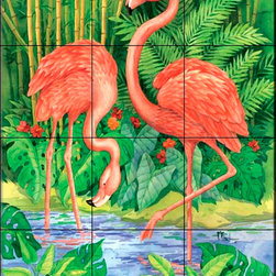 The Tile Mural Store (USA) - Tile Mural - Bamboo Flamingo - Kitchen Backsplash Ideas - This beautiful artwork by Paul Brent has been digitally reproduced for tiles and depicts two flamingos.  Images of waterfowl on tiles are great to use as a part of your kitchen backsplash tile project or your tub and shower surround bathroom tile project. Pictures of egrets on tile, images of herons on tile and decorative tiles with ducks and geese make a great kitchen backsplash idea and are excellent to use in the bathroom too for your shower tile project. Consider a tile mural of water fowl for any room in your home where you want to add interesting wall tile.