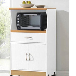 None - Microwave Cart Stand - Keep your kitchen organized with this clean yet stylish Microwave Cart Stand in two finish options. This stand features one shelf in the middle for microwave and one shelf on the top for small appliances.