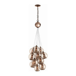Arteriors Home - Arteriors Home Caviar Adj Sm Rose Gold/Rose Glass Cluster - Arteriors Home DK899 - Drop this enchanting light from your ceiling and you'll think you've been blowing bubbles. Delicate glass spheres combine with threadlike polished nickel cords to give you an ethereal, romantic ambiance. This glass bouquet would look stunning in your foyer, dining room or living room. If you're very daring, hang one in your bath for an elegant, unusual design. You'll be forever blowing bubbles.