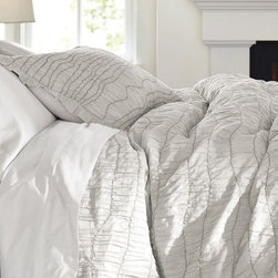 Ruched Voile Duvet Cover, Gray - I love the contrasting stitching on this.