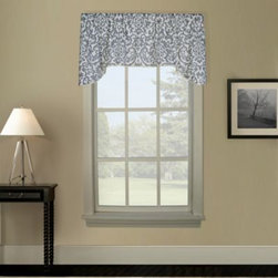 """A.l. Ellis Inc. - Montauk Arch Valance - This regal valance features a monochromatic scroll print on an ivory background. It's elegant yet understated with a rope-cord bottom edge and can add a cornice-type effect to your window. The valance measures 50"""" W x 17"""" L."""
