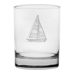 Rolf Glass - Sailboat DOF 14oz, Set of 4 - Make yours a double, whether it's an actual cocktail or simply a glass of guava juice, it will taste better in these cut-glass double-old-fashioned tumblers. A crisply etched sailboat, complete with racing number, lends a nautical feel.