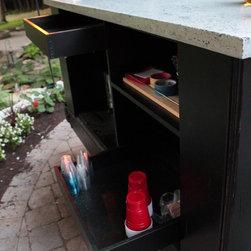 Bar Cart with Cast Concrete Top, Antique Cart -