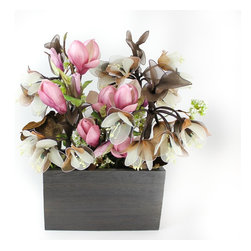 The Firefly Garden - Stars Fell on Alabama, Pink, Kiri Wood Vase - In 1833, a spectacular meteor shower fell across the night skies of Alabama. One century later, Frank Perkins composed a jazz tune inspired by this historical event that would become a classic: Stars Fell in Alabama. Our own version of the tune sparkles with a composition of Gardenias, silk Hydrangea, Orchid, and Queen Anne's Lace to make a beautiful blend of history and light