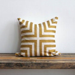 Doha Metallic Gold & Off-White Handprinted Hemp Pillow Cover by Melongings - A bold geometric pattern makes this pillow cover stand out, but the subtle shine reminds me of summer. Its a chic all-season choice and would look pretty amazing with any decor style. I like it for late summer and early fall when layered with punchy cobalt.