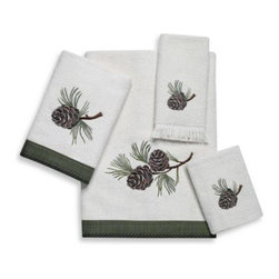 Avanti - Avanti Pine Creek Bath Towel in Ivory - With a shear velour face, towels beautifully recreate an embroidered pine cone motif in shades of green and brown. The bath and hand sizes are finished with a pine green burlap fabric trim with whip-stitch detail.