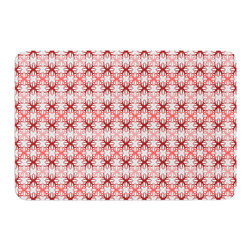 """KESS InHouse - Nandita Singh """"Pink Motifs"""" Red Pattern Memory Foam Bath Mat (24"""" x 36"""") - These super absorbent bath mats will add comfort and style to your bathroom. These memory foam mats will feel like you are in a spa every time you step out of the shower. Available in two sizes, 17"""" x 24"""" and 24"""" x 36"""", with a .5"""" thickness and non skid backing, these will fit every style of bathroom. Add comfort like never before in front of your vanity, sink, bathtub, shower or even laundry room. Machine wash cold, gentle cycle, tumble dry low or lay flat to dry. Printed on single side."""
