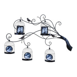Woodland Imports - Bird Cage Picture Frames Hanging Black Metal Tree Branch Wall Decor 51833 - Delightful photo display with 5 bird cage picture frames hanging from black wrought metal tree branch wall accent decor
