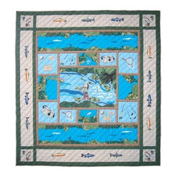 Patch Quilts - Fly Fishing Queen Quilt - -Constructed of 100% Cotton  -Machine washable; gentle dry  -Made in India Patch Quilts - QQFFSH