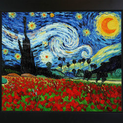 """overstockArt.com - Van Gogh - Starry Poppies Collage (artist interpretation) Oil Painting - 20"""" x 24"""" Oil Painting On Canvas Designed by Amit Yaari this is a hand painted oil interpretation of famous Van Gogh paintings Starry Night and Field of Poppies. The original masterpieces were created in 1889. Today they have been recreated capturing original details and color in a single artistic canvas. Vincent Van Gogh's restless spirit and depressive mental state fired his artistic work with great joy and, sadly, equally great despair. Known as a prolific Post-Impressionist, he produced many paintings that were heavily biographical. This work of art has the same emotions and beauty as the original. Why not grace your home with this reproduced masterpiece? It is sure to bring many admirers!"""