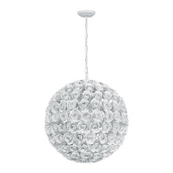 """Crystorama - Cypress Chandelier - Large - White Wrought Iron Chandelier. Takes 5 - 60 w/c bulbs. Chain: 72"""" Wire: 120"""""""