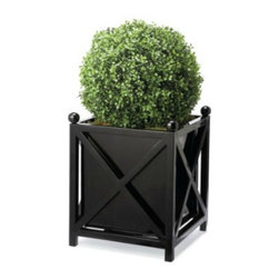 Box Planter - These all-weather planters are classic and can be used year-round. They would look great as a pair flanking the front door. I would add low-maintenance greenery to my porch with a simple boxwood topiary or a small spruce tree.