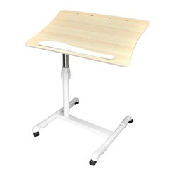 Living Healthy Products - Portable Laptop Desk Tray Caddy Double Boards - This laptop cart is a great stand to customize to your needs. Adjust the height for a more comfortable working station and tilt the main work surface for your convenience. This cherry and black color combo looks sleek in any room. This laptop cart is your perfect solution for easy mobility, style, and workspace.