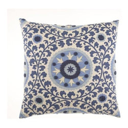 D.V. KAP Home - Tribal Thread Blue 24 x 24 Decorative Pillow - -24x24 zippered removable cover  -Comes with Feather/Down insert  -Spot or dry clean D.V. KAP Home - 2077-B