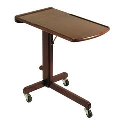 Winsome Wood - Laptop Cart w Adjustable Tray & Castered Base - You can take this laptop cart with you anywhere with it's three wheel design, and enjoy superb comfort with the adjustable height and work surface angle. Made from sturdy and dependable Beachwood, it features a walnut finish that will compliment any home decor. * Walnut finish. Beech Wood. Adjustable height & work-surface angle. Moves easily on 3 wheels. Two lockable front wheels. All castors (wheels) need to be unlocked before moving the cart and the top needs to be placed in a horizontal position (parallel to the ground) to stabilize the unit when maneuvering for safety. It is recommended to tighten the knob on the tilting brace to secure the top in place. Consumer should make sure that knob on Part F Tilting Brace is fully tightened before using. Assembly required. Adjustable Height Range: 24.9 in. to 36 in.. 16.9 in. L x 24.8 in. W x 24.9 in. H. 15 lbs