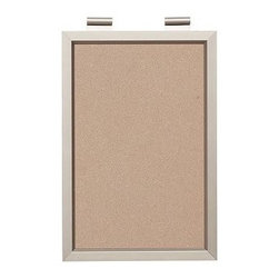 """Daily System Corkboard, Stainless Steel finish - Clever and versatile, our modular Daily System is the ultimate home-office assistant. Short Display Rod: 12"""" long Long Display Rod: 24"""" long Letter Bin: 12"""" wide x 19"""" high Office Organizer: 12"""" wide x 19"""" high Corkboard: 12"""" wide x 19"""" high Chalkboard: 24"""" wide x 19"""" high Magnetic Whiteboard Calendar: 24"""" wide x 19"""" high Linen Pinboard: 24"""" wide x 19"""" high Whiteboard: 24"""" wide x 19"""" high Made of MDF with an aluminum finish. Catalog / Internet only."""
