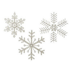 Beaded Snowflakes - Large - Set of 3 - New - The first one of the season. A surprise visit in October. Catching them on your tongue. There's nothing more exciting than the first sight of falling snow. And we definitely got excited when we found these ornaments. Hand-wired with silvery, translucent beads and rhinestones, they aren't in danger of melting!