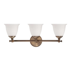 Savoy House - Bradford 3 Light Bath Bar - Inspired By Vintage Lighting, Bradford, Is A Timeless Classic From Designer Brian Thomas. Etched White Glass Shades Are Attached With An Articulating Knuckle, Adding Authentic Charm And Verstility. Elegant Heirloom Brass Finish.