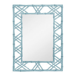 Claire Mirror, Light Blue - I love this crazy faux bamboo mirror, because it has a hit of argyle pattern to it, making it the perfect choice for adding a bit of preppy Palm Beach style.