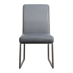 Diamond Sofa - Dining Side Chair in Gray - Set of 2 - Set of 2. Contemporary design. Leather-like seat and back. Brushed stainless steel frame and base. Warranty: One year. Made from metal, polydacron and polyester fibers. No assembly required. 21 in. L x 18 in. W x 37 in. H (17 lbs.)Give your dining room a trendy facelift with this stylish contemporary dining chair by Diamond Sofa. This dining chair is sure to modernize your decor.  The chair looks great alone as an accent, or as part of a dining set collection.