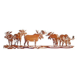 "Lazart - Rustic Moose Metal Art Over Door Hanger - Rustic Moose Metal Art Over Door Hanger. There's a gathering of moose at the local watering hole, and we've captured the scene in this rustic metal art over door hanger. Each moose is a seeming study of wildlife art in a warm Honey Pinion finish with striking golden tones as it catches the light. Finely detailed, this laser cut rustic metal art over door hanger is perfect for your mountain lodge or log cabin. Measures 30""W."