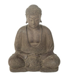 Repose Home - Peaceful Buddha, Antiqued Brown - This statue features Buddha in meditation. The tight-knit spirals adorning Buddha's head represent a group of snails who, legend has it, kept his head cool as he sat deeply meditating in the afternoon heat. Cast in rich, antique brown volcanic ash and weatherproofed for indoor or outdoor use.
