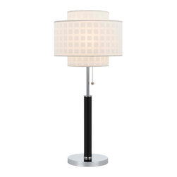 CAL Lighting - Cal Lighting BO-2330TB 60W Stanton Table Lamp With Leatherette Wrapped Pole - CAL Lighting BO-2330TB 60W Stanton table lamp with leatherette wrapped pole