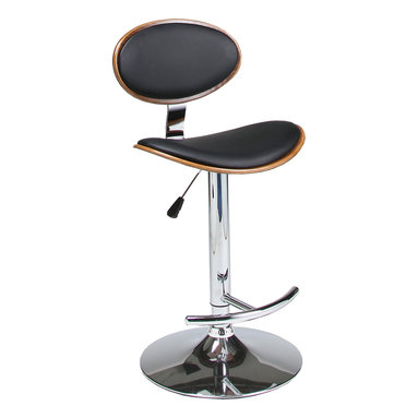 Pastel Furniture - Pastel Joffrey Hydraulic Lift Barstool - Chrome & Walnut Veneer Wood - PU Black - The Joffrey barstool is a beautifully made contemporary hydraulic barstool with a simple yet elegant design that is perfect for any decor. An ideal way to add a touch of modern flair to any dining or entertaining area in your home. This barstool has a Chrome base made with a walnut veneer frame adding a traditional yet contemporary touch. The padded seat is upholstered in PU black offering comfort and style.