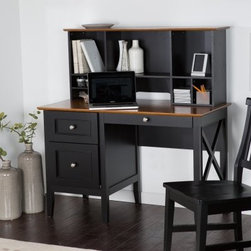 Belham Living Hampton Desk with Optional Hutch - Black/Oak - Featuring a solid wood construction, oak veneers, and a gorgeous two-tone black/oak finish, the The Hampton Desk with Optional Hutch - Black/Oak is a both beautiful and functional addition to your home office. This desk has a tray drawer with a built-in organizer for pens and stationery, and a bottom drawer that can hold letter or legal file folders. The optional hutch has plenty of cubbies to keep your essentials organized, along with a wire management cutout to accommodate your computer.Dimensions:Desk: 47W x 22D x 30H inchesHutch: 46W x 10D x 20H inches