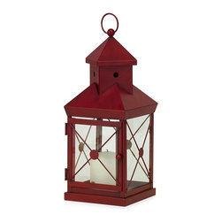 IMAX CORPORATION - Red Cupola Lantern - Charming red metal cupola lantern with glass inserts and hinged door, hold 3 inch pillar candle. Find home furnishings, decor, and accessories from Posh Urban Furnishings. Beautiful, stylish furniture and decor that will brighten your home instantly. Shop modern, traditional, vintage, and world designs.