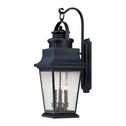 Joshua Marshal - Three Light Slate Clear Seeded Glass Wall Lantern - Three Light Slate Clear Seeded Glass Wall Lantern