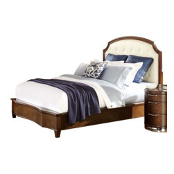 Home Elegance - Home Elegance Traditional Cherry Wood Finish Bedroom Set With Cream Headboard, K - Taking a cue from the classic lines of Art Deco design, each piece of the Zelda Collection will provide the flexibility, functionality and aesthetic that you desire for your fashion forward bedroom.  Also features traditional case pieces that are offered alongside home accents, the Zelda Collection allows for a personalized look. The warm cherry finish of each wood piece in the collection is complemented by chrome hardware.